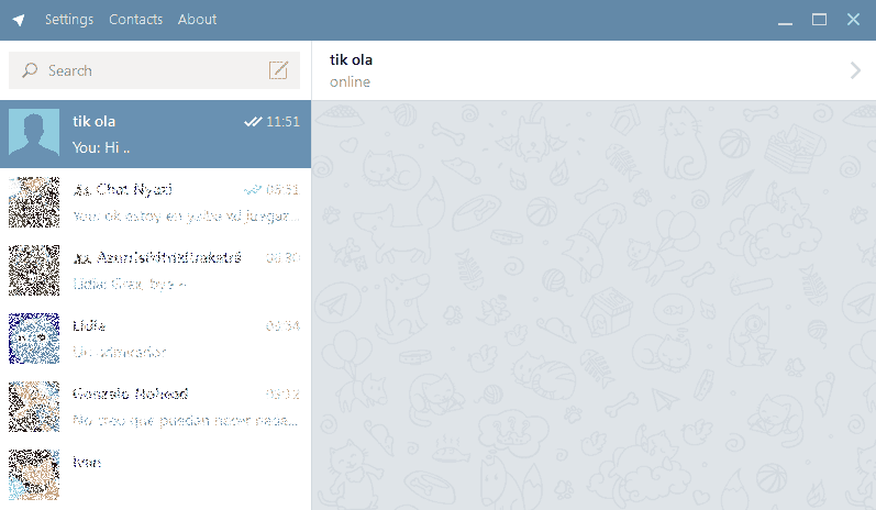Main screen or interface of Telegram for desktop in Windows