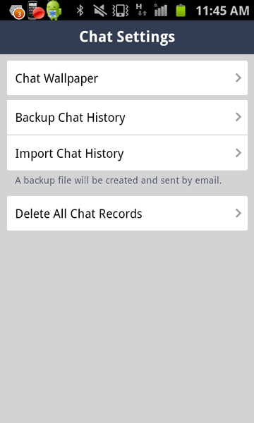 Tap on Import Chat History