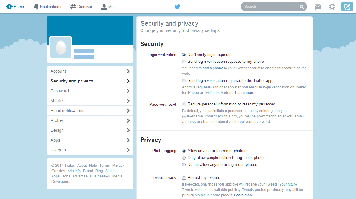 Security and privacy settings in Twitter