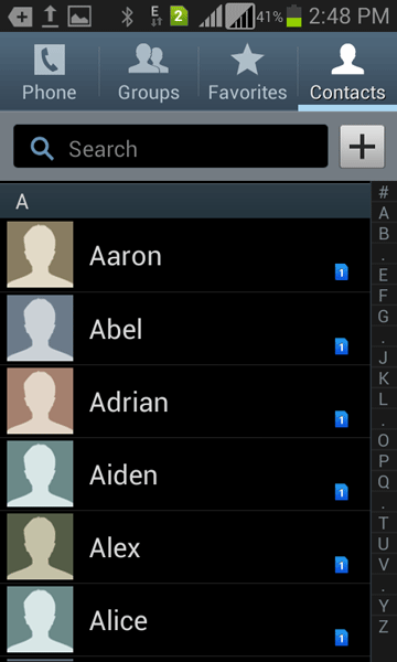 open the Android Contacts app