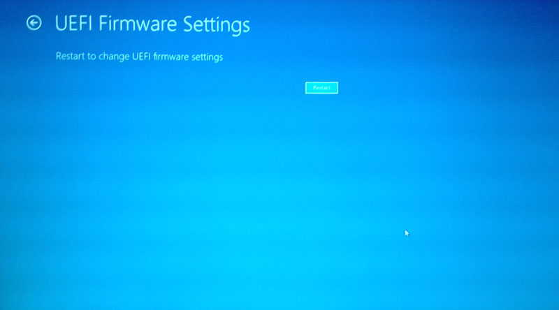 click Restart to access BIOS in Windows 8.1