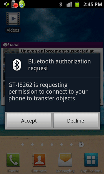 choose Bluetooth authorization request on the receiving Android device