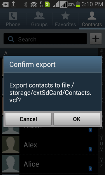 export your Android contacts to SD card to transfer them