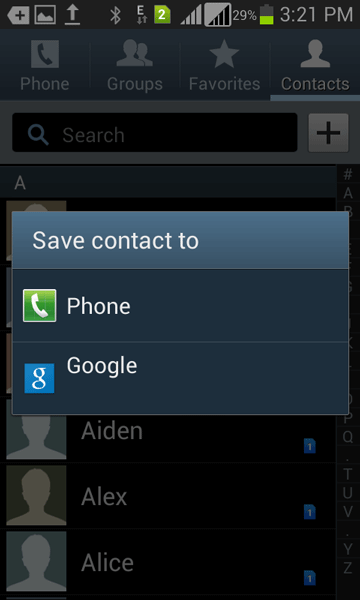 save contacts on Android from SD card