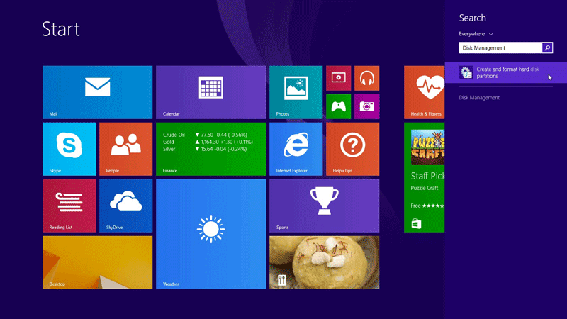 Search and open Disk Management in Windows 8.1