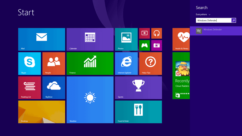 Press WINDOWS key + Q and search for Windows Defender in Windows 8.1