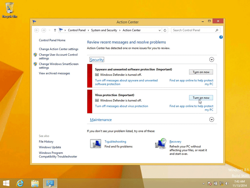 Click on Turn on now to turn on Windows Defender in Windows 8.1