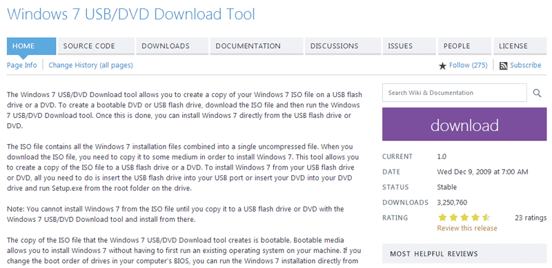 Windows USB/DVD Download Tool for Windows 10