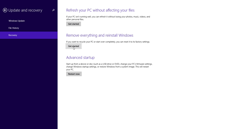 Start restoring Windows 8.1 to factory settings