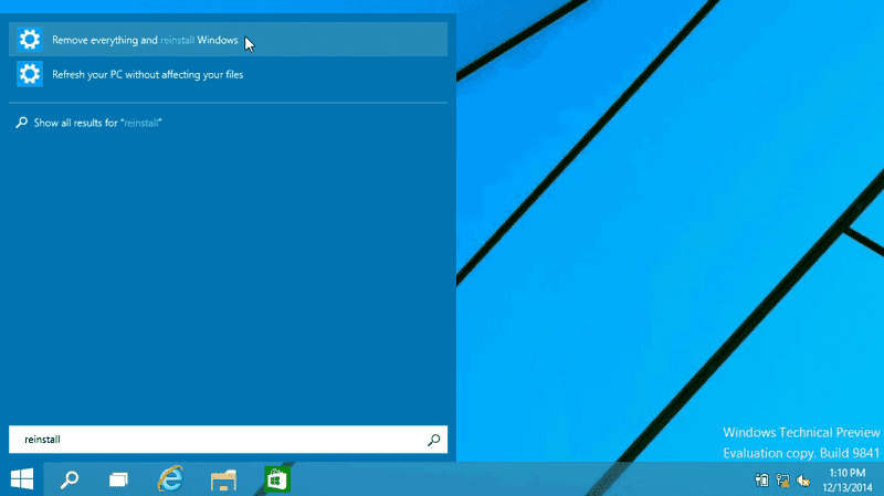 Search for reinstall - How to Factory Reset Windows 10