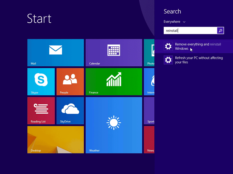 Restore Windows 8.1 to factory settings