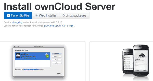 owncloud download page