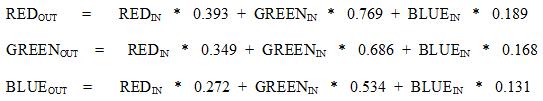 sepia tone formula(algorithm)